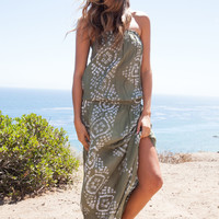 Cool Change Bianca Bloussant maxi dress in moss/white