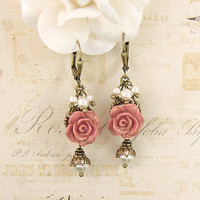 Bronzed Dusty Pink Resin Rose Earrings - Swarovski Pearl Ivory and Pink Victorian Jewelry Shabby Chic Jewelry Neo Victorian Flower Earrings