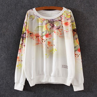 White Gold Fish Floral Print Loose Sweatshirt