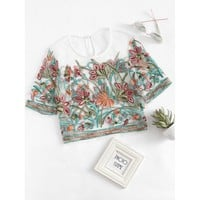 Buttoned Keyhole Botanical Embroidered Mesh Top