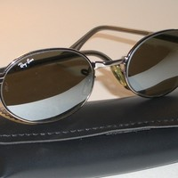 VINTAGE B&L RAY BAN W2319 CHROME/GREY SIDESTREET OVAL G31 MIRROR SUNGLASSES