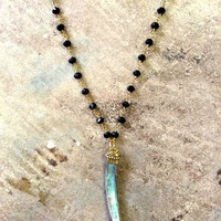 Black Crystal and Abalone Horn Necklace