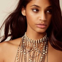 Lulu Neck Piece Gunmetal And Pearl