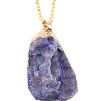 Amethyst Gold Plated Druzy Pendant Necklace