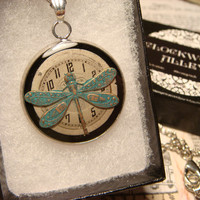 Dragonfly over Watch Face Steampunk Style Pendant Necklace (1835)