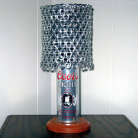 """Vintage Coors Light """"The Silver Bullet"""" Beer Can Lamp With Pull Tab Lampshade - The Mancave Essential"""