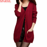 Sparsil Women's Slim Cashmere Sweater Spring Autumn V-Neck Single Breasted With Pockets Knitwear Medium Style Thin Cardigan B18