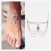 Bohemian Foot Jewelry Turquoise Anklets