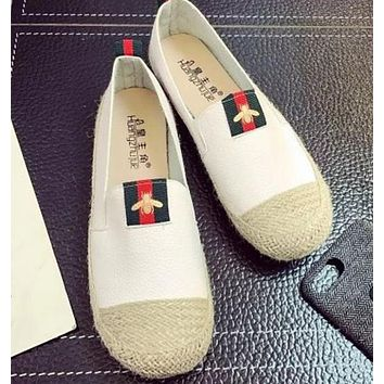 Gucci New Fashion Flat Women Red And Green Stripe Bee Shoes Casual Shoes Straw Shoes