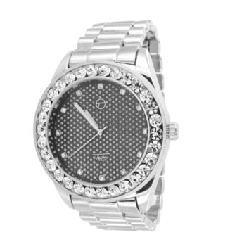 14k White Gold Finish Black Face Iced Out Bezel Luxury Watch