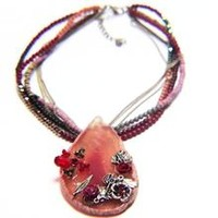 Slab Agate Natural Stone Flower and Crystal Beaded Flower Necklace