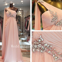 A-line Pink One-shoulder Sleeveless Long Chiffon Prom Evening Wedding Dress Homecoming Bridesmaid Dress