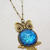 long owl charm necklace, animal jewelry, best friend gift, bird jewelry, owl, royal blue, layered necklace, love owl, bridesmaid, christmas