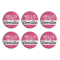 Camilla Hello My Name Is Plastic Resin Button Set of 6