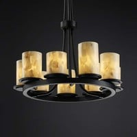 Justice Design Group ALR-8766-10-DBRZ Alabaster Rocks! Dakota Dark Bronze Nine-Light Ring Chandelier - (In Dark Bronze)