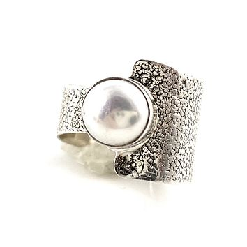 Pearl Sterling Silver Two Half's Ring