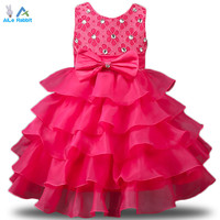 2016 New Brand Girl Dress Summer 3-8 Years Floral Baby Girls Dress Vestidos 6 Colors Wedding Party Baby Clothes Free Shipping