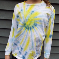 Childrens Tie-Dye Swirl Shirt in Blue and Yellow, Long-Sleeve Tie-Dye Tee, Youth Large for Tween Girls or Boys, Kids Hippie Clothes, Boho
