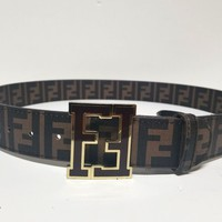 FENDI MENS BELT SIZE 36 GOLD TRIM FENDI BUCKLE/ BROWN BAND