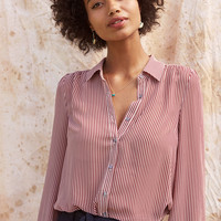 Classic Striped Button-Up Top in Wine