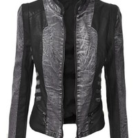 Lock and Love Women's Distress Denim Faux Leather Mix Jacket