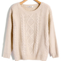 Beige Cable and Diamond Knit Sweaters by Chicnova