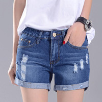Hot 2016 High Waist Denim Shorts Women Summer Casual Women Jeans Shorts Femme Retro Fashion Denim Shorts Female Plus Size