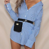 pinstripes Loose Tops Blouse Long Sleeves Blouse Women Sexy backless Blouse Casual Shirt