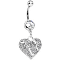 Clear Gem Sparkling Rivers of Love Heart Dangle Belly Ring | Body Candy Body Jewelry