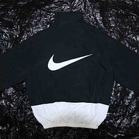 NIKE Autumn and winter fashion new letter print embroidery splice couple loose leisure sport jacket coat Black white