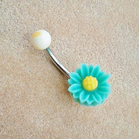 Daisy Belly Button Ring Jewelry Turquoise Mint Green Sunflower Rose Navel Piercing Stud Bar Barbell