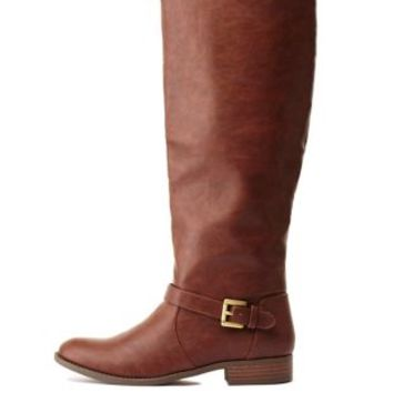 Belted Flat Riding Boots by Charlotte Russe - Brown