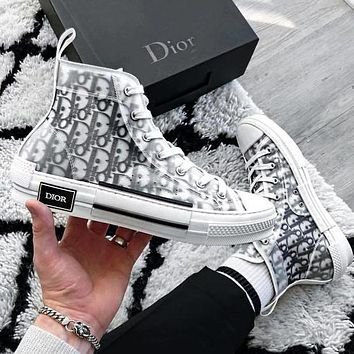 Dior Women Men Sneakers transparent plastic High Tops Low Tops Shoes White+Black Letters