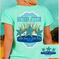 Country Life Outfitters Southern Attitude Mint Starfish Vintage Girlie Bright T Shirt