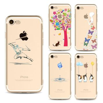 For iPhone 7 Cases Fashion Creative Girl Animals CatTPU Silicone  Cover