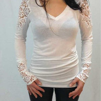 V-Neck Long Sleeve Sheer Lace Blouse