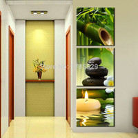 3 panel wall art oil painting spa stone bamboo candels home decoration canvas prints pictures for living room
