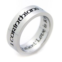 """Corinthians """"Love Is Patient, Love Is Kind"""" Stainless Steel Ring"""