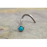 18 Gauge Turquoise Nose Ring Stud Corkscrew