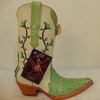 Los Altos Women's Crocodile X-toe Cowboy Boots