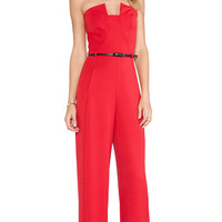 Black Halo Lena Jumpsuit in Red