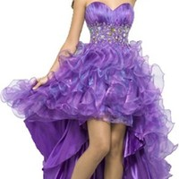 New Purple Organza Cocktail Pleat Diamond Tiered Wedding Dress Prom Party Gown