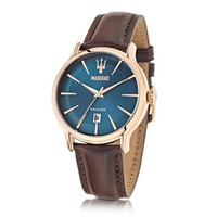 Maserati Designer Men's Watches Epoca Blue Dial and Brown Leather Strap Men's Watch