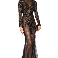 Zuhair Murad Embroidered Lace Gown in Black   FWRD