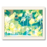 Americanflat Urban Road Palms Turquoise Framed Wall Art (Blue)
