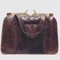 40s Purse 50s Purse / Brown Alligator Handbag / Kelly Bag with Gold Tone and Lucite Handle