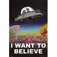 Rick and Morty I Want to Believe UFO Poster 24x36