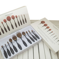 Makeup Brushes Beauty Toothbrush Shaped Foundation Power Makeup Oval Cream Puff Brushes sets Oval Brushes 10pcs/set