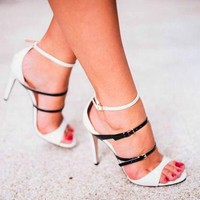 Peep Toe Women Fashion Ankle Strap Sandals High Heels Shoes