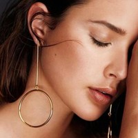 Simple Punk Circle Earrings For Women Steampunk Vintage Gold Color Boho Geometric Statement Earrings Jewelry Accessories E02041